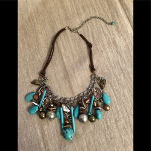 Jewelry - Boho chic, turquoise and mixed metals necklace